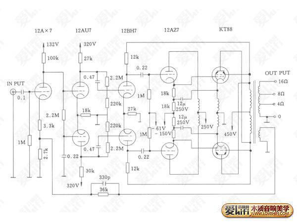 专业功放机接线图;